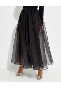 MACH&MACH - Czarna spódnica midi z jedwabiu. Kolor: czarny. Materiał: jedwab