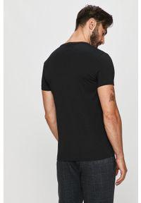Czarny t-shirt TOMMY HILFIGER z okrągłym kołnierzem, casualowy