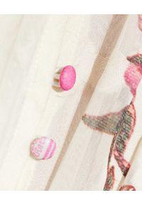 HEMANT & NANDITA - Biała sukienka oversize. Kolor: biały. Materiał: materiał. Wzór: kwiaty, nadruk. Typ sukienki: oversize. Długość: mini