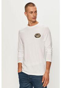 Biała koszulka z długim rękawem Jack & Jones z nadrukiem, na co dzień, z okrągłym kołnierzem, casualowa