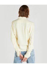 Patrizia Pepe - PATRIZIA PEPE - Żółta koszula z szerokimi mankietami. Kolor: żółty. Materiał: jeans, żakard, wiskoza