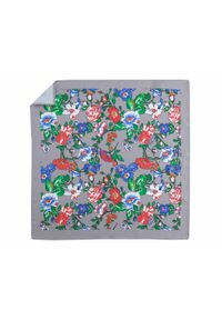 Adam Collection - Szara poszetka w kwiaty E273. Kolor: szary. Wzór: kwiaty
