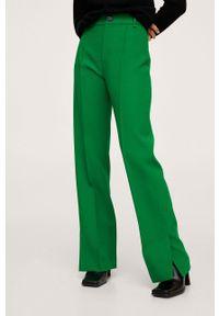 mango - Mango - Spodnie Maca. Stan: podwyższony. Kolor: zielony. Materiał: włókno