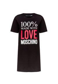 Czarna sukienka Love Moschino z nadrukiem, na co dzień, z okrągłym kołnierzem, casualowa