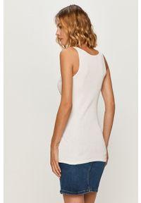 Biały top Guess Jeans z nadrukiem, casualowy, na co dzień