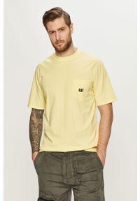 Żółty t-shirt CATerpillar casualowy, gładki, na co dzień