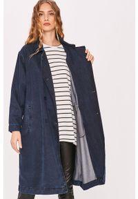Niebieski płaszcz Answear Lab bez kaptura, wakacyjny