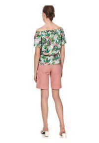 TOP SECRET - Kolorowa bluzka z odkrytymi ramionami i wiązaniem. Wzór: kolorowy