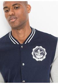 Bluza rozpinana w stylu college bonprix ciemnoniebiesko-jasnoszary melanż. Kolor: niebieski. Wzór: melanż