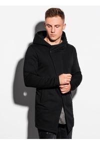 Ombre Clothing - Bluza męska rozpinana z kapturem B668 HUGO - czarna - XXL. Typ kołnierza: kaptur. Kolor: czarny. Materiał: bawełna, poliester. Styl: klasyczny, elegancki #2