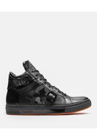 Czarne sneakersy Kazar na klamry, z cholewką, z aplikacjami
