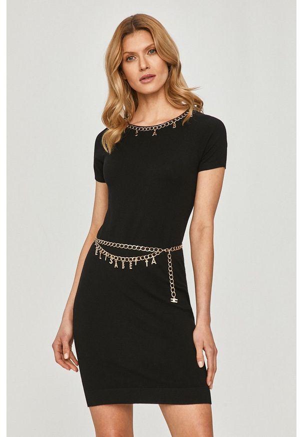 Czarna sukienka Elisabetta Franchi gładkie, dopasowana