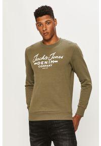Oliwkowa bluza nierozpinana Jack & Jones bez kaptura, z nadrukiem