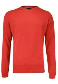 Pomarańczowy sweter Adriano Guinari klasyczny, z dekoltem w kształcie v