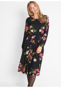 Sukienka koszulowa midi bonprix czarny w kwiaty. Kolor: czarny. Wzór: kwiaty. Typ sukienki: koszulowe. Długość: midi