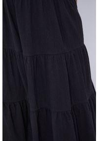 medicine - Medicine - Sukienka Essential. Kolor: czarny. Materiał: dzianina. Długość rękawa: na ramiączkach. Wzór: gładki. Typ sukienki: rozkloszowane