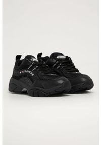 Czarne sneakersy Tommy Jeans na sznurówki, z cholewką, z okrągłym noskiem