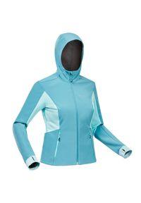 FORCLAZ - Kurtka softshell trekkingowa damska Forclaz Trek 500. Kolor: niebieski, wielokolorowy, szary. Materiał: softshell