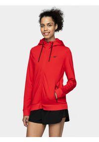 4f - Bluza damska. Kolor: czerwony. Materiał: elastan, wiskoza, poliamid
