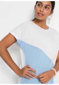 """Shirt """"color-blocking"""" bonprix biało-beżowo-jasnoniebieski. Kolor: biały. Długość rękawa: krótki rękaw. Długość: krótkie #4"""