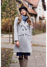 Marie Zélie - Płaszcz wełniany Debora jasnoszary. Kolor: szary. Materiał: wełna. Wzór: motyw zwierzęcy. Sezon: zima. Styl: klasyczny