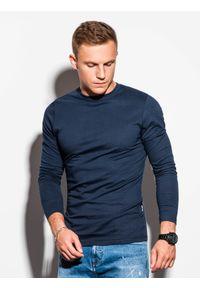 Niebieska koszulka z długim rękawem Ombre Clothing z kapturem, klasyczna