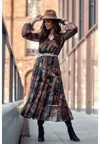 e-margeritka - Sukienka szyfonowa długa w kwiaty - 38. Materiał: szyfon. Wzór: kwiaty. Typ sukienki: rozkloszowane. Styl: elegancki. Długość: maxi