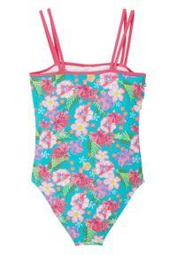 Kostium kąpielowy dziewczęcy bonprix różowo-turkusowy w kwiaty. Kolor: różowy. Wzór: kwiaty