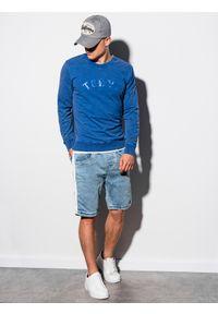 Niebieska bluza Ombre Clothing klasyczna, z nadrukiem, bez kaptura #5
