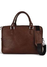 Torba Solier Skórzana męska torba na laptopa Solier SL22 Kingston brąz uniwersalny. Kolor: brązowy. Materiał: skóra