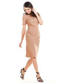 Sukienka wizytowa Awama z krótkim rękawem, midi