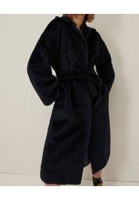 Marella - MARELLA - Granatowy płaszcz z wełny. Kolor: niebieski. Materiał: wełna. Długość: długie
