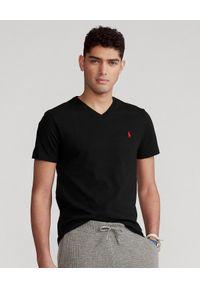 Ralph Lauren - RALPH LAUREN - T-shirt z logo. Okazja: na co dzień. Typ kołnierza: polo. Kolor: czarny. Materiał: bawełna. Wzór: haft. Styl: casual, klasyczny, sportowy
