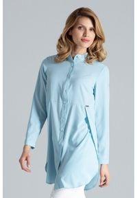 Figl - Niebieska Koszula -Tunika Zapinana Na Zatrzaski. Kolor: niebieski