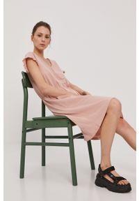 Vila - Sukienka. Kolor: różowy. Materiał: bawełna, dzianina. Długość rękawa: krótki rękaw. Wzór: gładki. Typ sukienki: rozkloszowane