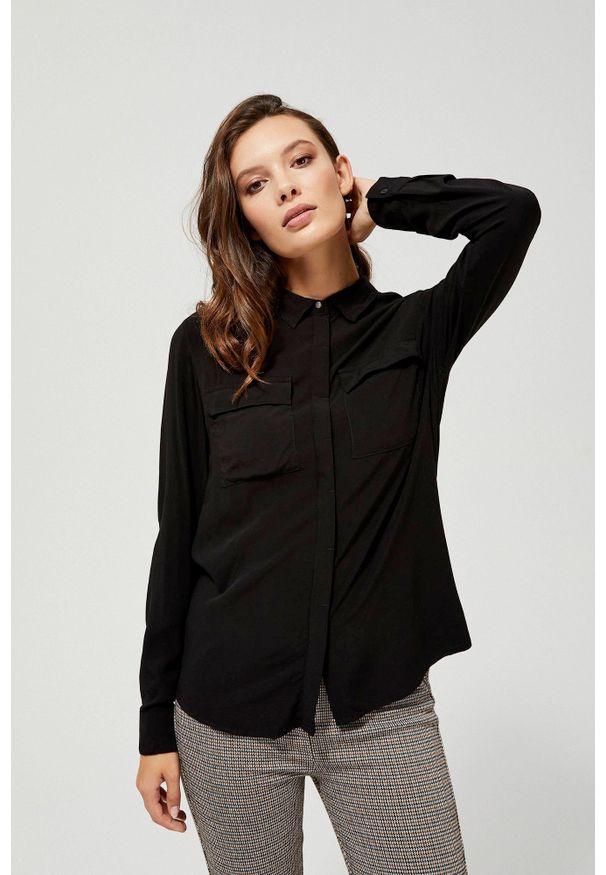 Czarna koszula MOODO z długim rękawem, długa