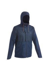 quechua - Kurtka turystyczna - NH500 WTP - męska. Typ kołnierza: kołnierzyk stójkowy. Kolor: niebieski. Materiał: materiał, poliester. Sport: wspinaczka
