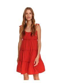 TOP SECRET - Bawełniana sukienka mini z marszczeniami. Kolor: czerwony. Materiał: bawełna. Długość rękawa: na ramiączkach. Sezon: lato. Styl: wakacyjny. Długość: mini