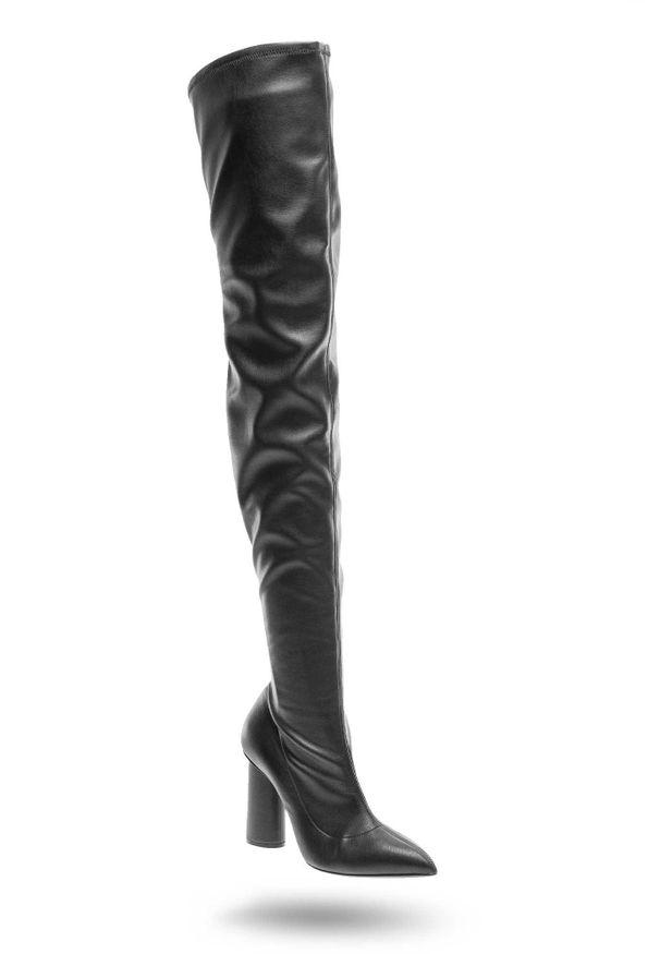 Czarny kozaki Emporio Armani z cholewką za kolano