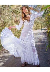 GADO GADO - Biała koronkowa sukienka maxi. Kolor: biały. Materiał: koronka. Wzór: haft, aplikacja. Długość: maxi