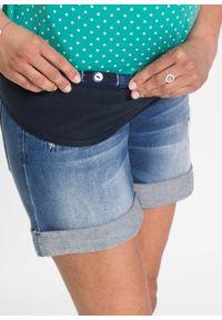 """Szorty dżinsowe ciążowe z wiązanym troczkiem bonprix niebieski """"stone"""". Kolekcja: moda ciążowa. Kolor: niebieski. Sezon: lato. Styl: sportowy"""