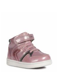 Różowe buty sportowe Geox na rzepy, z cholewką