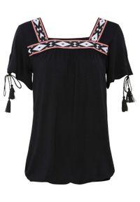 Shirt z tasiemką bonprix czarny. Kolor: czarny. Wzór: haft
