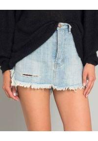 ONETEASPOON - Spódnica jeansowa Hustler. Kolor: niebieski. Materiał: jeans. Wzór: aplikacja. Styl: rockowy