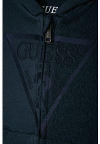 Niebieska bluza rozpinana Guess z aplikacjami, z kapturem, na co dzień