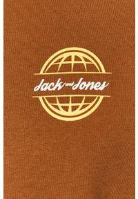 Brązowa bluza nierozpinana Jack & Jones bez kaptura, casualowa, na co dzień