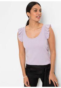 Top z falbanami w ramiączkach bonprix pastelowy bez. Kolor: fioletowy. Długość rękawa: na ramiączkach