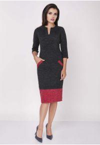 Nommo - Czarno czerwona Dopasowana Sukienka z Kontrastowymi Detalami. Kolor: wielokolorowy, czerwony, czarny. Materiał: wiskoza, poliamid, poliester