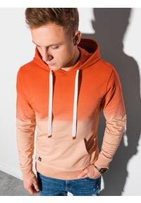 Ombre Clothing - Bluza męska z kapturem B1148 - pomarańczowa - XXL. Typ kołnierza: kaptur. Kolor: pomarańczowy. Materiał: bawełna