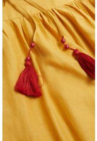mango - Mango - Sukienka ADELE. Kolor: żółty. Materiał: materiał, bawełna. Długość rękawa: na ramiączkach. Wzór: haft. Typ sukienki: rozkloszowane